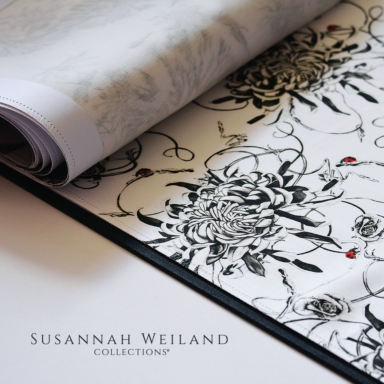 Hand drawn design from The Botanical Collection. Heavy Cotton Satin Fabric for furnishings and upholstery. #fabric #cottonsatin #handdrawn #upholestry #furnishingfabric #madeintheuk #botanicalillustration #botanicaldesign #chrysanthemums #richmonduponthames #fabricdesign #textiledesigns #homedecor #luxuryfabric #luxurytextiles #interiorfabric #flowerillustration #interiordecorating #upholsteryfabric