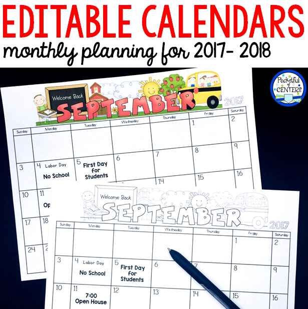 Kindergarten Calendar Flip Chart : Monthly editable calendars update school pinterest