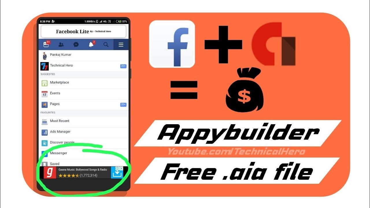 Facebook Lite  aia file || Appybuilder aia file || Add admob