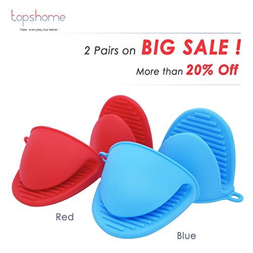 Silicone Heat Resistant Cooking Pinch Mitts Mini Oven Mitts Gloves Cooking Pinch Grips Pot Holder And Potholder Mini Oven Food Grade Silicone Red And Blue