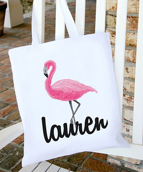 d15688c45 White Personalized Flamingo Canvas Beach Bag | Products | Bags ...