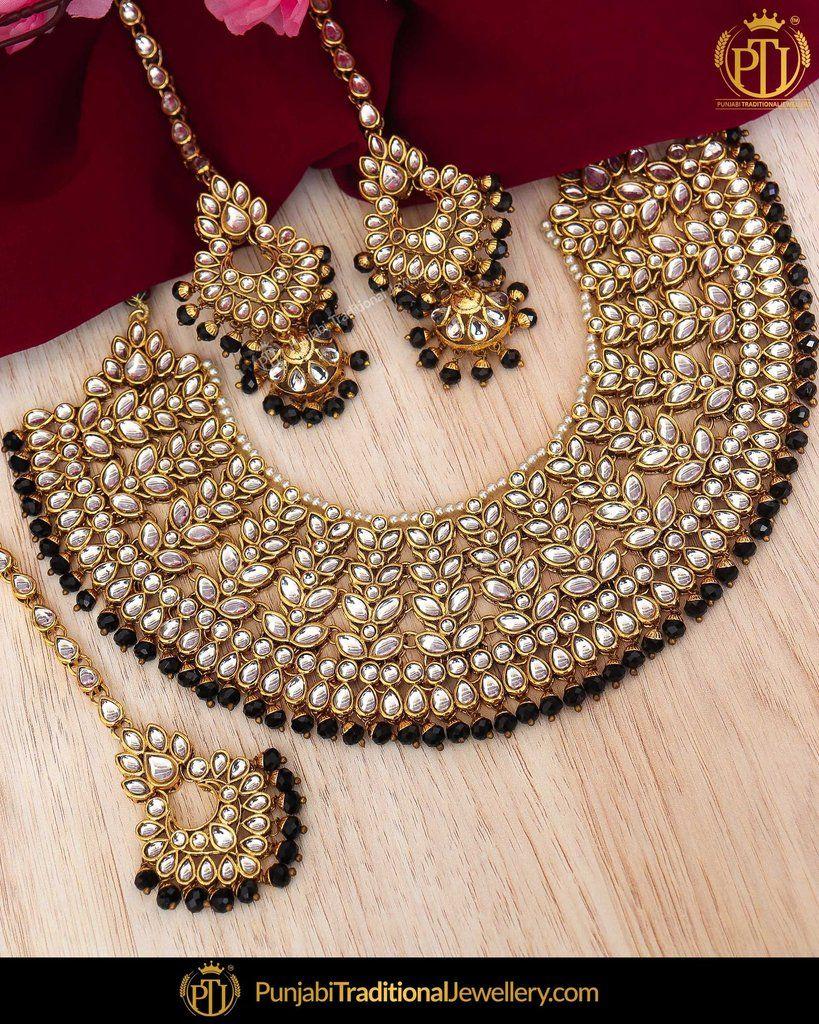 Gold Finished Black Kundan Pearl Choker Necklace Sahare Earrings