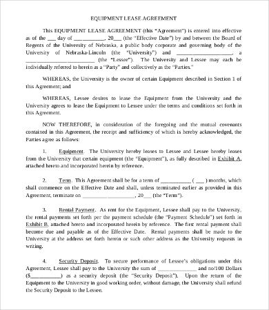 9+ Equipment Lease Agreement Templates Sample Templates