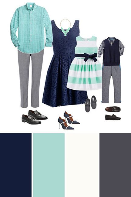 Navy and Aqua Blue family picture outfit ideas