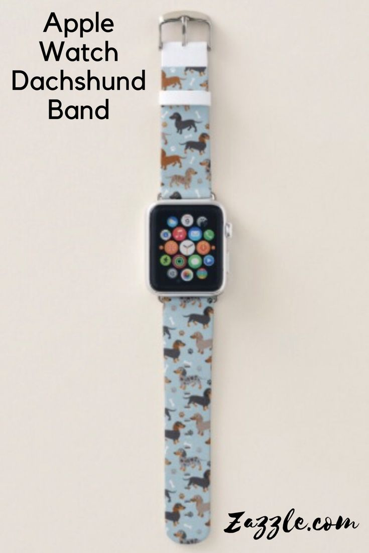 Dachshund Paws and Bones Pattern Blue Apple Watch Band.