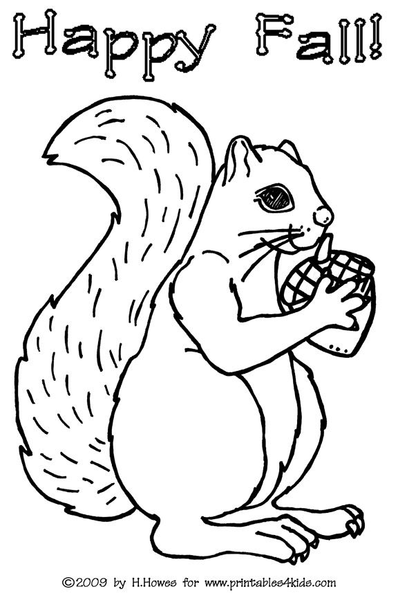 Squirrel Coloring Page Printables For Kids Free Word Search Puzzles Pages