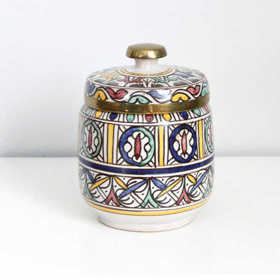 Antique Moroccan Fez Pottery Jar with Brass by farmorshouse