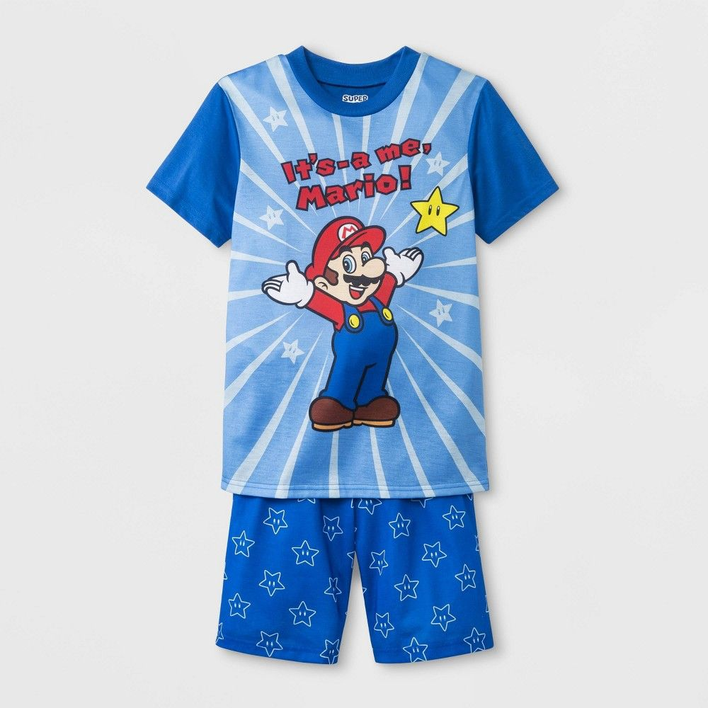 bdcdb6bb6f Boys' Nintendo Super Mario 2pc Pajama Set - Blue XS, Boy's in 2019 ...