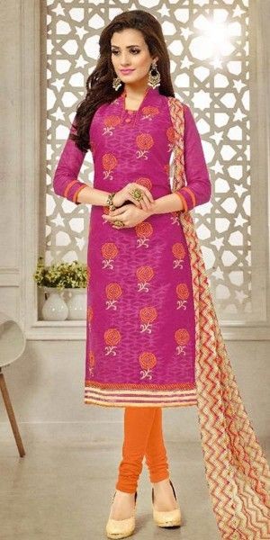 Heartily Pink Cotton Straight Suit With Dupatta.