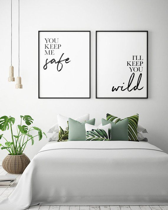 Photo of Bedroom Printables: You Keep Me Safe I'll Keep You Wild (Set of 2), Couple Bedroom Print, Bedroom Wall Art, Bedroom Decor *Instant Download*