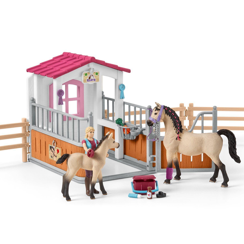 Schleich Horse Club 42369 Pferdebox mit Arabern und Pferdepflegerin