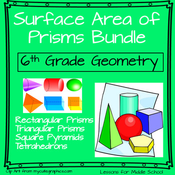 This unit provides many hands on activities and real world problems for students to really understand the application of surface area of different types of prisms.  Students will be instructed through 9 detailed lessons with accompanying activities and formative assessments.
