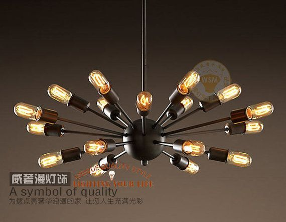 vintage large sputnik chandelier 18 lights lobby hanging stick mid ...