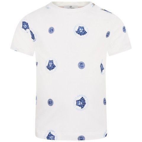73e7704fda18 Young Versace Baby Boys Ivory   Blue Medusa Top