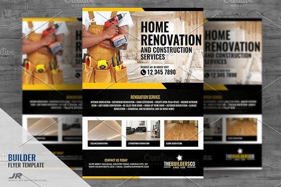 construction and builder flyer by jovan on creativemarket