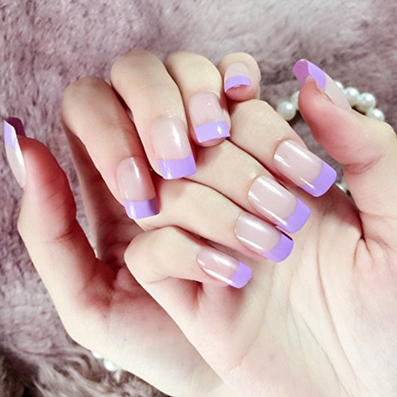 Classic French Nails Series Medium Flat Clear Fake Nail Tips Violet ...