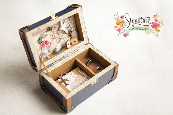 travel themed wedding ring box - Wedding Ring Box