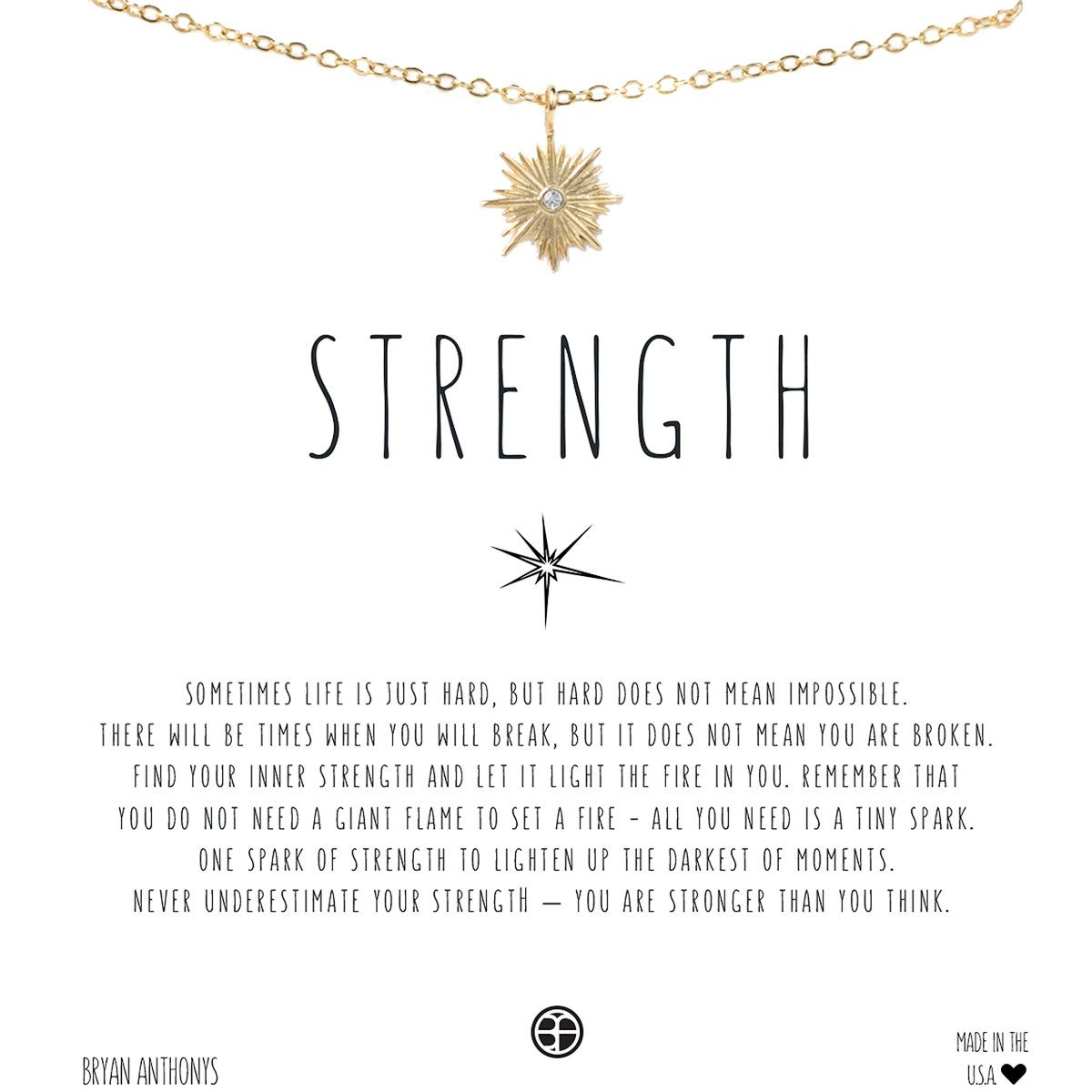 dbd7412c40eb STRENGTH. BRYAN ANTHONY NECKLACE. GOLD OR ROSE GOLD.