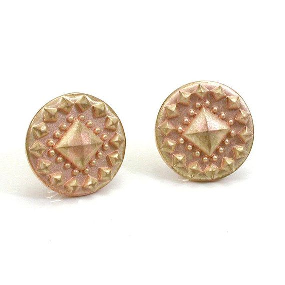 Armor Stud Pyramid Post Earrings- 14k yellow gold sandblasted