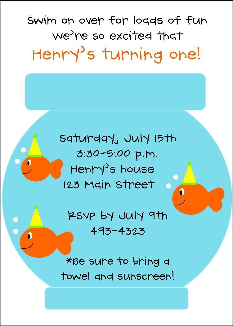 Newrsonalized fish birthday party invitationspool party personalized fish birthday party invitationspool party swim filmwisefo