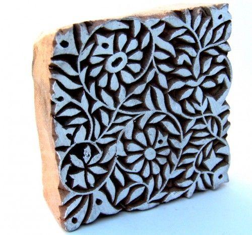 Wood Block Print Designs Square Indian Wood Block Printing Stamp
