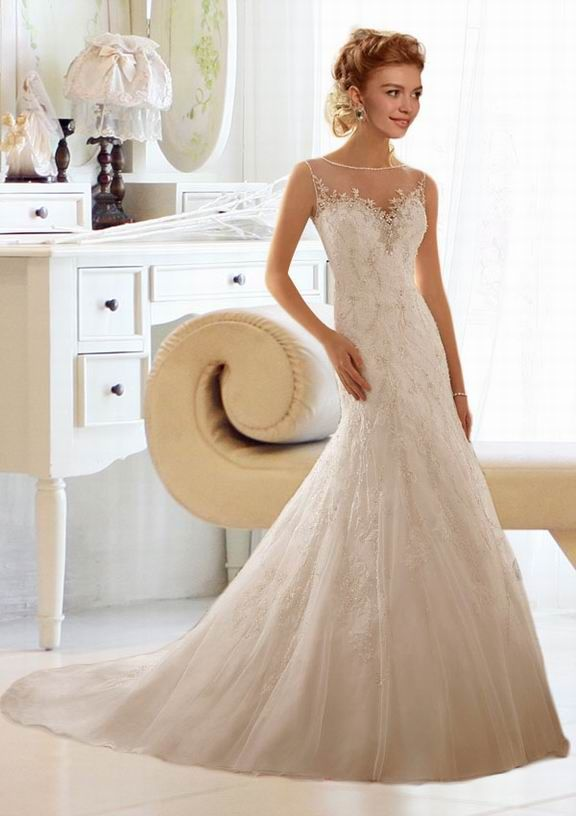 Fabulous Trumpet / Mermaid Jewel Chapel Train  Ruffles Wedding Dress