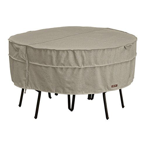 classic accessories montlake fadesafe round patio table chair set cover heavy duty outdoor furniture with waterproof backing medium 55657036701rt classic accessories patio furniture covers f6 patio
