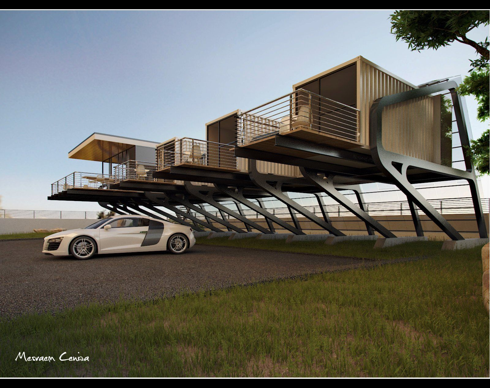 live above ground in a container house with a balcony. great idea