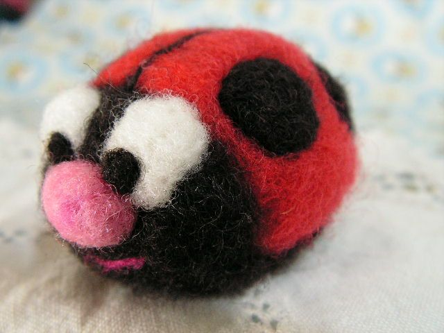 Ladybug needlefelted soft waldorf toy via Etsy.