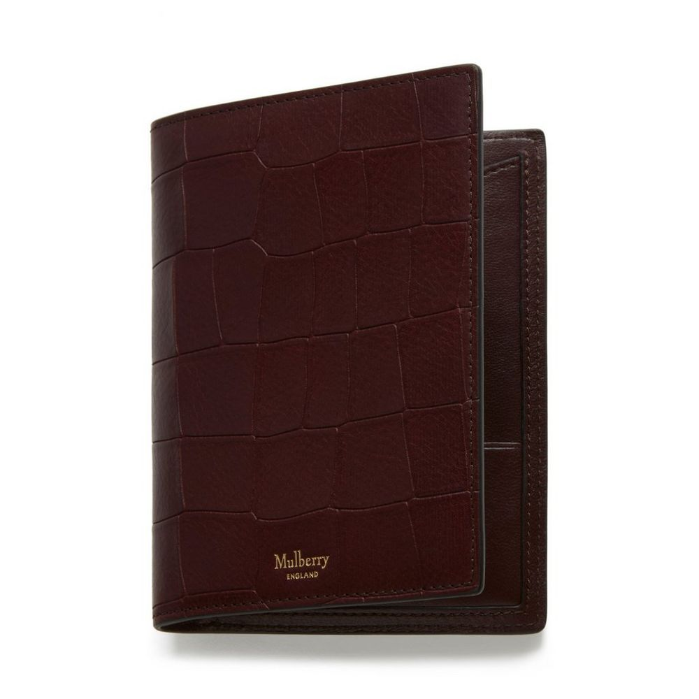 1fc62b87781b Shop the Passport Cover Wallet in Oxblood Deep Embossed Croc Leather at  Mulberry.com.