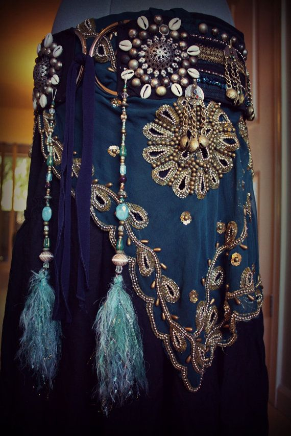 peacock feather hair falls - gypsy skirt with lots of beading and detail