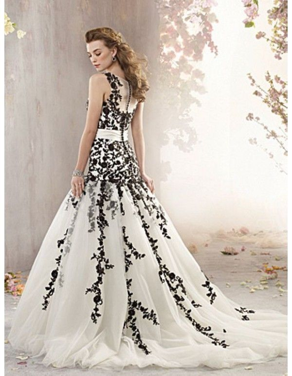 Black and white wedding dress with Lace #weddingdresses | Wedding ...
