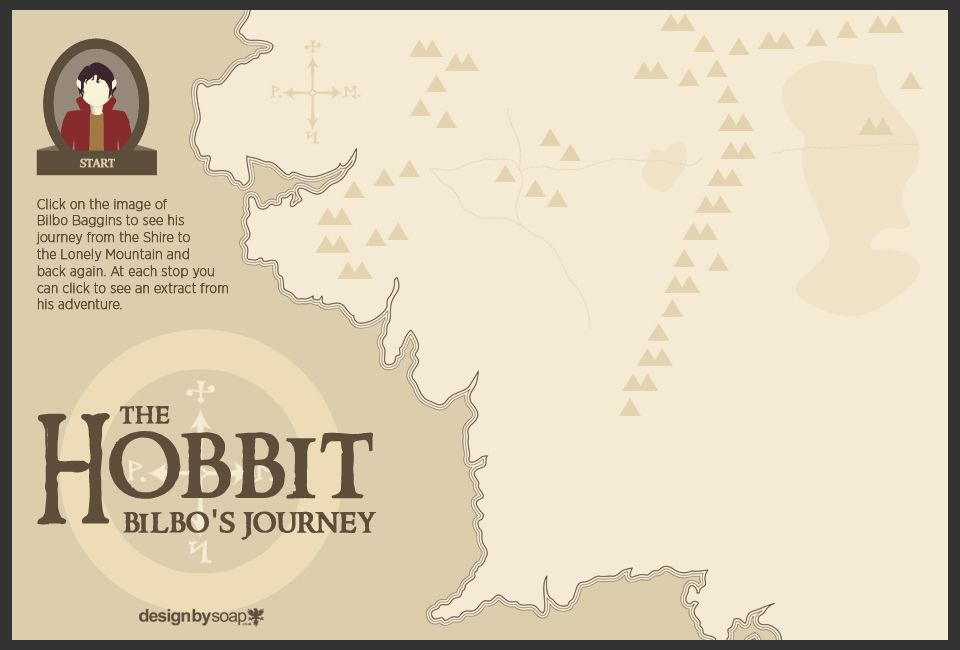An interactive infographic charting the path of Bilbo Baggins