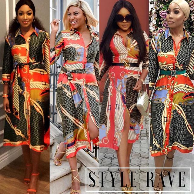 79783c93ac902a From Stephanie Coker to Mercy Aigbe Nigerian celebrities cant get enough of  this Zara scarf print