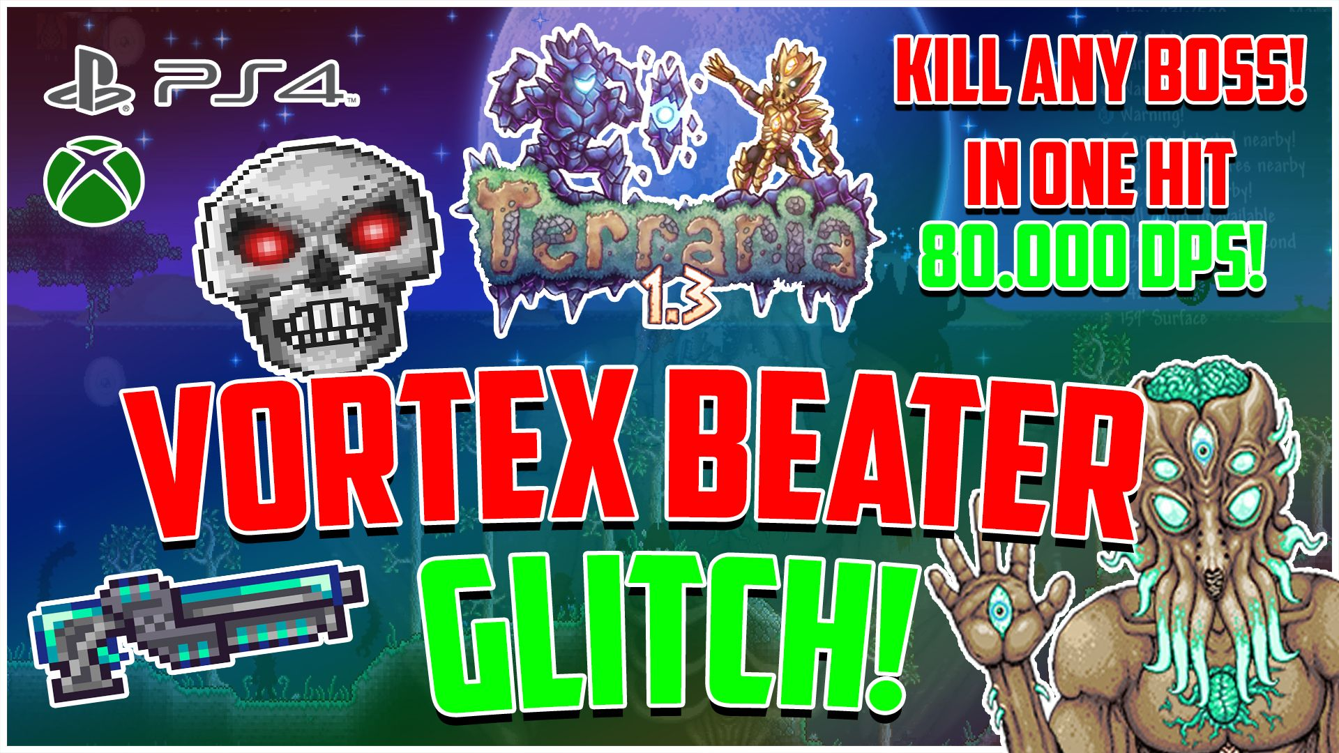 VORTEX BEATER GLITCH TERRARIA 1 3 KILL ANY BOSS IN ONE HIT