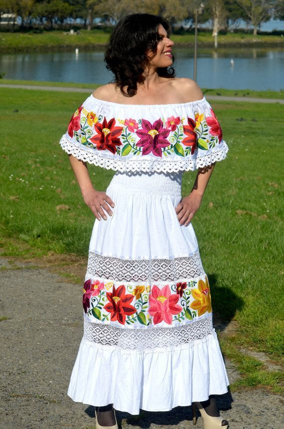 Multicolor Embroidered Off Shoulders Mexican Dress White Amazing Design