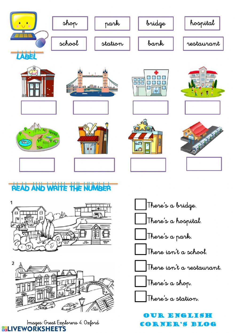 Places in town online exercise for Grade 3. You can do the exercises online  or download the…   Worksheets for kids [ 1413 x 1000 Pixel ]