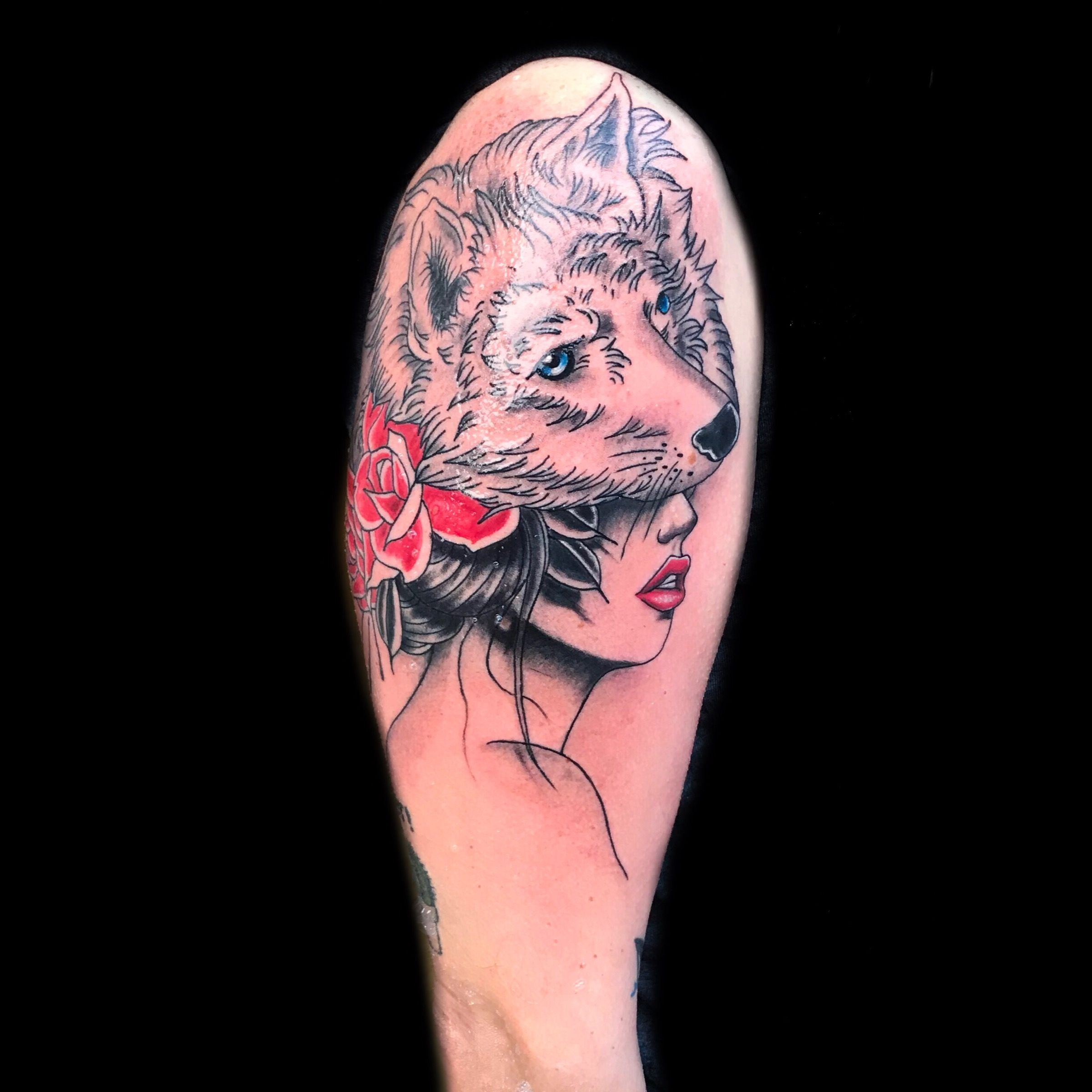 Wolf with wolf head by mta mtatattoo #wolf #girl #colors #tattoo ...