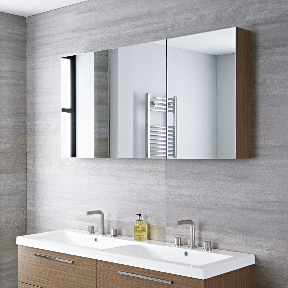 Milano Linley Oak Modern 3 Door Wall Hung Mirrored Cabinet 1350mm X 700mm Mirror Cabinets Bathroom Mirror Bathroom Mirror Cabinet [ 1000 x 1000 Pixel ]