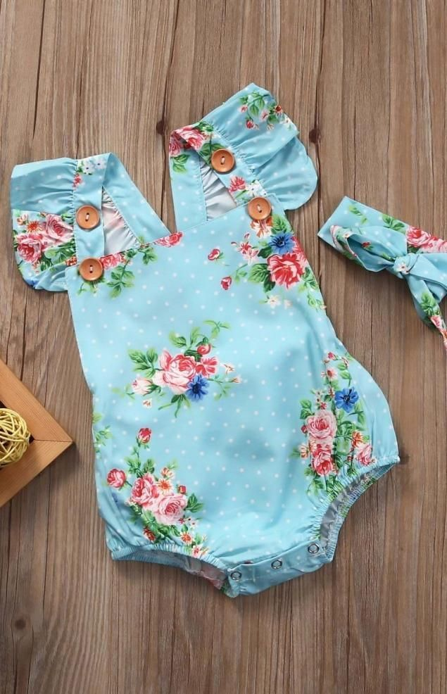 Floral Baby Romper Set Aqua | Baby girl fashion, Boho baby and Summer baby