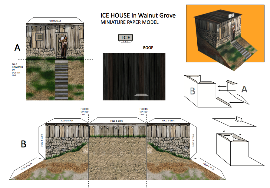 Ice House in Walnut Grove LHOTP free paper models and coloring pages