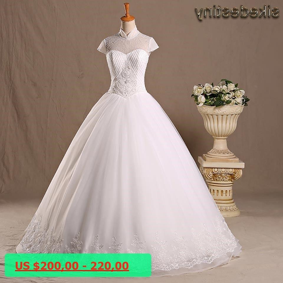 Real photos wedding dresses high neck short sleeves beaded vintage