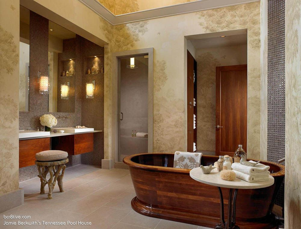 Incredibly Creative Pool House & Wine Cellar by Beckwith Interiors  --  Glamorous Women's Bathroom with Hand Painted Walls, Custom Made Wooden Bath Tub & Heated Floors