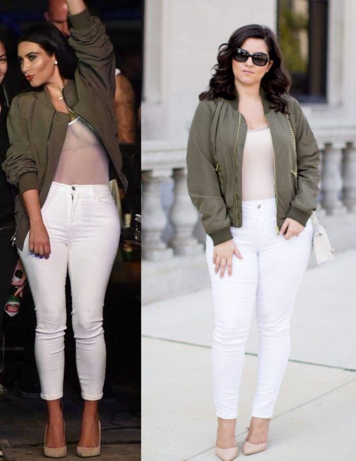 Kim Kardashian Bomber Jacket Outfit Green Bomber Jacket White