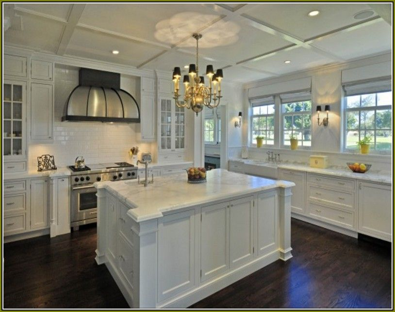 White Shaker Kitchen Cabinets Dark Wood Floors Dark Hardwood Floors Kitchen Antique White Kitchen Antique White Kitchen Cabinets