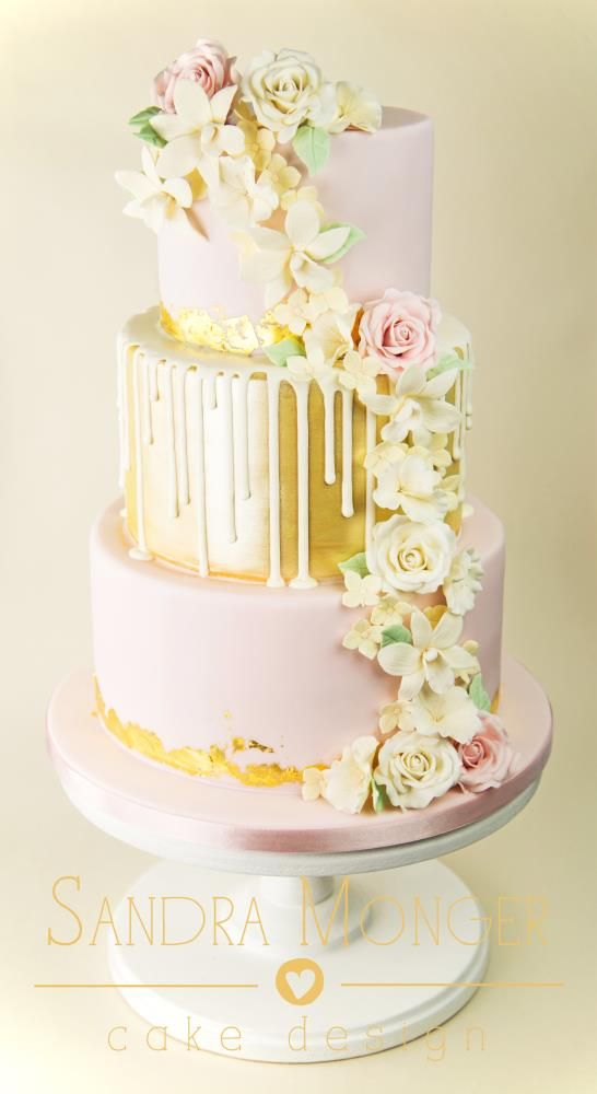 Pale Pink and Gold Drip Cascade Cake | cakes | Pinterest | Cake ...