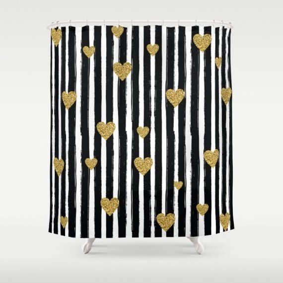 Gold Glitter Hearts Shower Curtain Black And White Stripe Shower