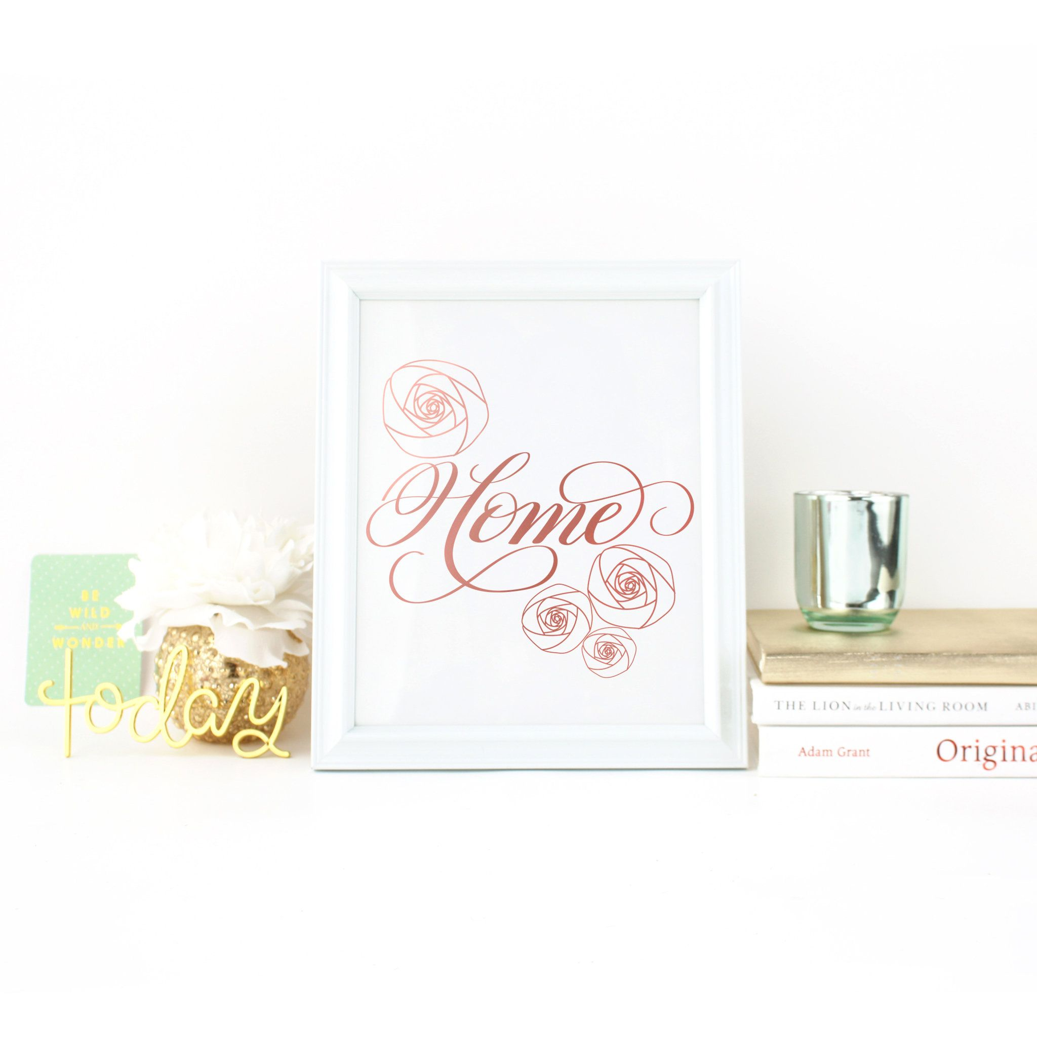 Real foil print calligraphy rose gold wall art floral gold foil