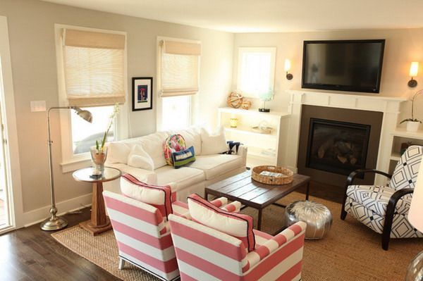 Traditional Living Room Ideas With White Sofa And Accent Chairs