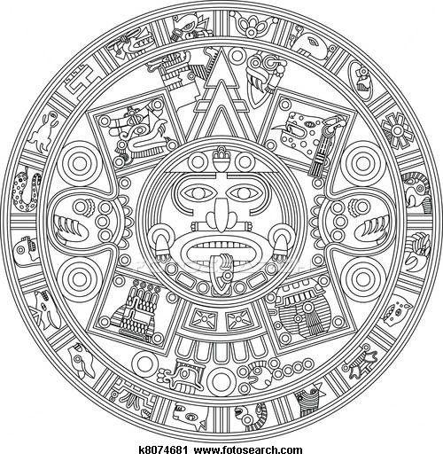 Aztec Calendar Coloring Pages Aztec Calendar Coloring Pages Color